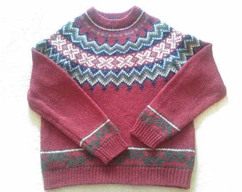 Vintage 1960's - 1970's  Woolrich Woman Pullover Deep Red/Burgundy/Multi-Colored Wool Sweater
