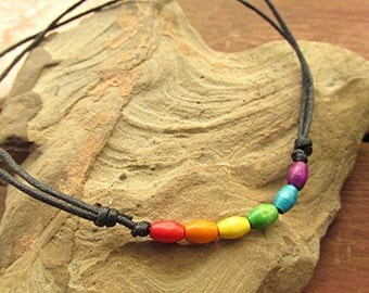 LGBT choker gay pride choker rainbow choker gay pride jewelry gay pride necklace wooden bead vegan grunge boho hippie gay gift