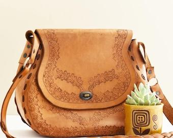 Vintage Tooled Leather bag - Boho - Style - 1970's Fashion - 70's Era