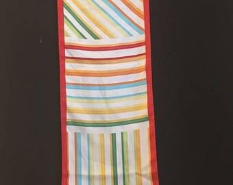Oscar De La Renta vintage multi directional long striped silk scarf red yellow blue green gold retro