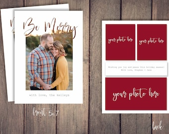 Be Merry Photo Card Template for Photoshop Happy Holidays Merry Christmas Customizable