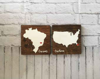 Our roots Our home States signs for her him Long Distance Friendship Best Friends Birthday Moving Away Missing You Wedding Gift Personalized
