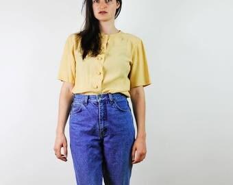 Women's Blouse, Vintage Yellow Blouse, Summer Blouse, Short Sleeved Blouse, medium size, 90s blouse, 90s clothing