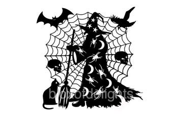halloween witch svg for instant digital download