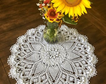 Ivory Pineapple Lace Doily - Farmhouse Decor - Handmade Doilies - Dining Room Decor - Wedding Gift - Table Decor - Housewarming Gift