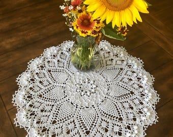 Ivory Pineapple Lace Doily - Farmhouse Decor - Handmade Doilies - Dining Room Decor - Wedding Gift - Table Decor - Housewarming Gift