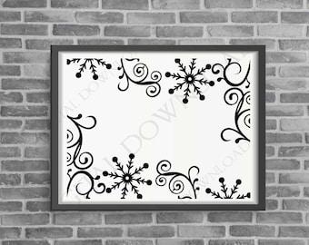 Snowflake Clipart Border Vector Holiday Stencil, Digital File, SVG Clipart, Christmas Home Decor, DIY Silhouette Stencil, Christmas Cards