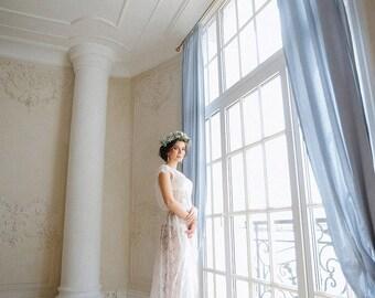 Ivory boudoir dress Eliza/Eyelash lace boudoir dress/Bridal robe/Luxury lace robe/Boudoir gown/Full lenght robe