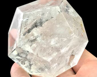 Dodecahedron D12 Clear Quartz Crystal Sacred Geometry Platonic Solids D11