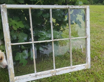 Shabby chic distressed rustic 8 pane 40x32 antique white vintage window sash farm house art wedding picture collage frame chippy