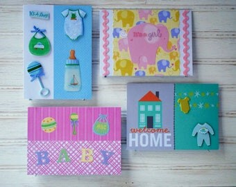 The BABY PACK - 4 Baby Cards - 2 Baby Boy Cards and 2 Baby Girl Cards - Handmade/Homemade Greeting Cards