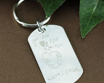 Child's Artwork Keychain, Kids Drawing Keychain, Fathers Day Gift, Actual Handwriting, Child's Drawing, Gift for Dad, Custom Keychain
