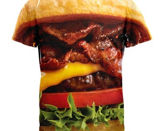 Hamburger Juicy Burger All Over Adult T-Shirt