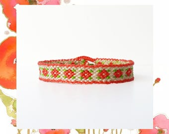 Woven Macrame Friendship Bracelet Vintage Flowers simple skinny floral coral thread adjustable long distance sistes women - Q'enqo Bracelets