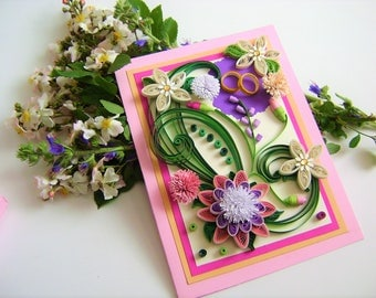 On Your Wedding Day Card,Wedding invitations with quilling flowers,Greeting cards,Congratulations Card,Handmade Quilling Card,