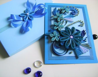 Quilling Greeting Card,Elegant Quilled Card,Сongratulation,Handmade Quilling Card,Seasonal Cards,Anniversary Cards,Quilling Flowers card