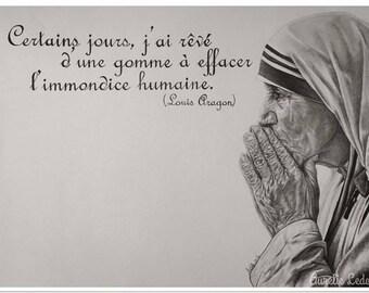 Graphite pencil portrait of Mother Teresa