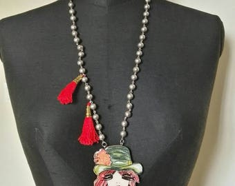 Mod silhouettes line necklace. Gipsy