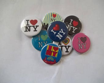 I Love New York Buttons.(set of 12)