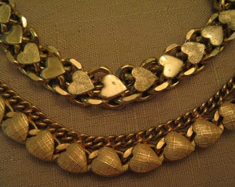 Textured Hearts Gold Tone Chunky Necklace OR Textured Hearts Gold Tone Charm Bracelet OR Both 1960s