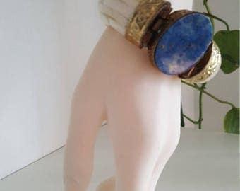 Vintage Ox Bone And Lapis Lazuli Cabochon Brass Hinged Bracelet