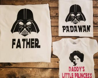 Star Wars Daddy and Me Youth Adult Infant Shirt Sets.