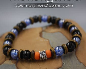 Men's Beaded Bracelet, 925 Silver, Black & Blue Czech Luster Beads, Indian Bone Beads, Murano Glass, Monongahela Bracelet