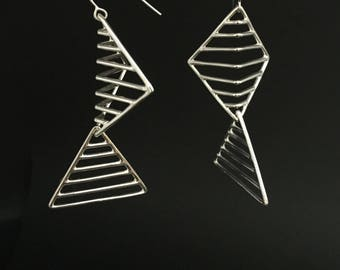 Lines and Shapes Dangly Earrings, Sterling Silver Square and triangle