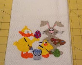 EASTER - Bunny and Friends Painting Easter Eggs! Embroidered Williams Sonoma All Purpose Kitchen Hand Towel, 100% cotton, XL