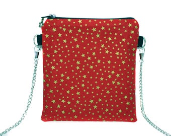 Mini clutch bag in red cloth with gold stars
