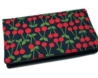 checkbook holder cherry fabric