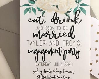 Eat, Drink & Soon to be Married Engagement Party Invitation
