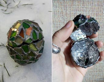 Easter egg - box, sea stained glass OOAK souvenir home decor, ring box, dragon egg, collectable