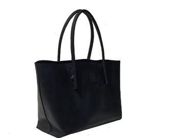 Leather bag used look leather big shopper Ledershopper black vintage design, handmade