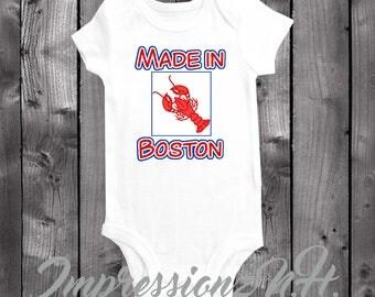 Made in Boston baby onesie - one piece lobster baby shirt