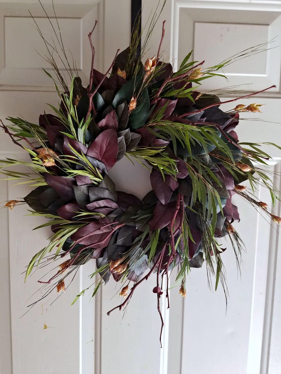 24 inch Fall wreath, preserved wreath, leaf wreath, dried wreath, salal wreath, natural wreath,  autumn wreath