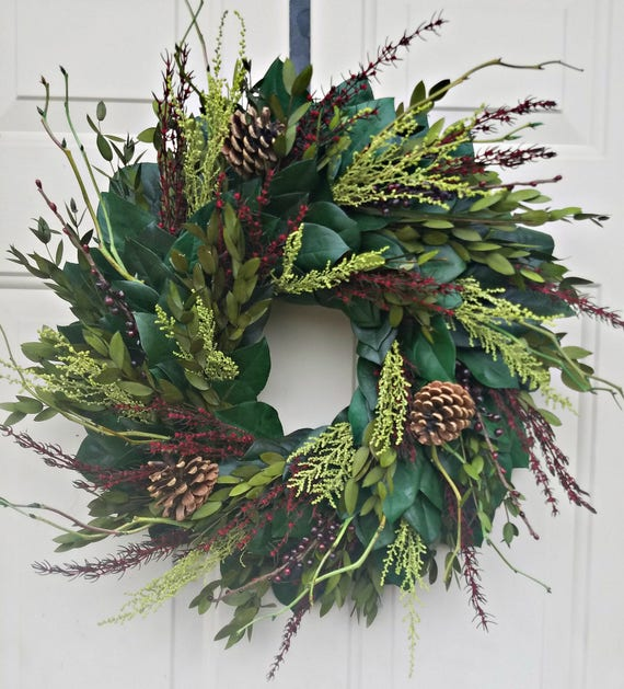 23 inch preserved Christmas wreath, xmas wreath, pinecone wreath, holiday wreath, gift, door wreath, preserved wreath, wreath, doorhanger