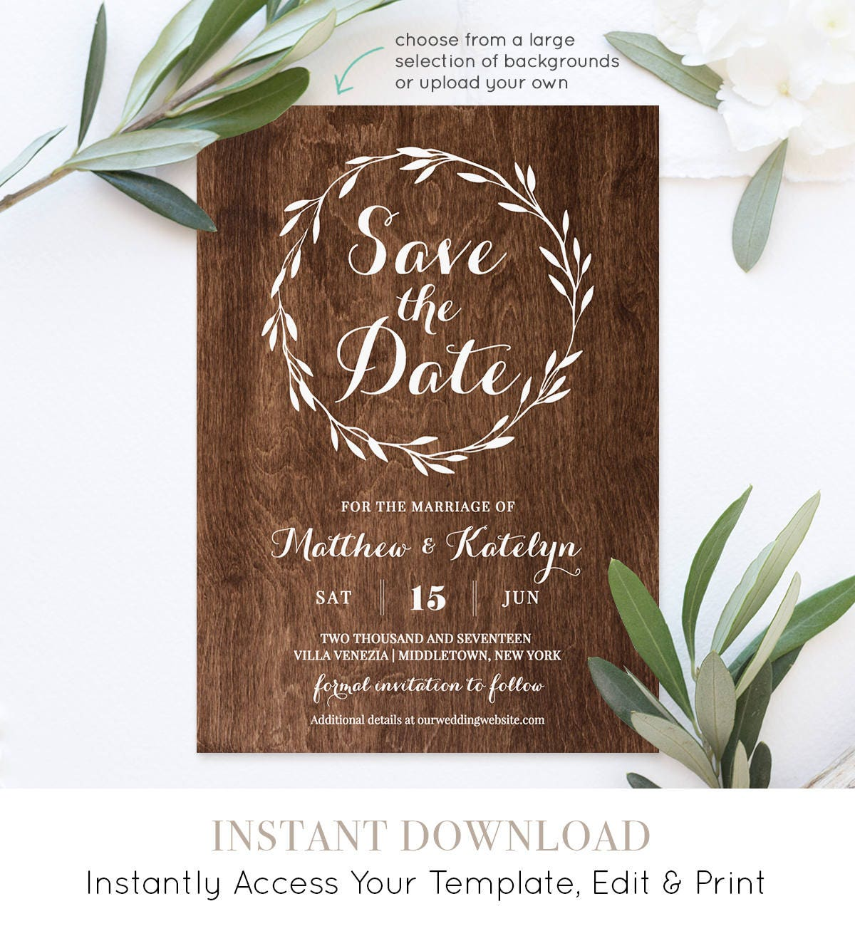 Rustic save the date template instant download diy kraft printable wedding save the date for Rustic save the date templates free