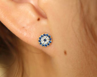 High Quality Pure 925 Sterling Silver CZ Crystal Lucky Turkey Evil Eye Tiny Stud Earring