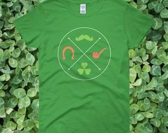 Irish Symbols St. Patrick's Day Women's Green T-shirt | Green Moustache, Orange Horseshoe, Green Shamrock, Orange Pipe Women's Shirt