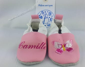 Baby shoes soft leather and leatherette, baby, boy, girl, child, personalized, butterfly