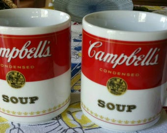 """Vintage """"Campbell's Soup""""  Corning Glass Works Porcelain Coffee Mugs  Made in Japan set of 2"""