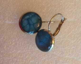 Hand painted effects Caribbean blue earrings