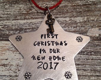 First Christmas in our new home~ Christmas ornament~ Hand stamped