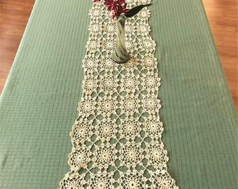 Vintage Crocheted Table Runner Creamy Beige Color, Vintage Table Runner, Dresser Scarf, Side Board Scarf, Light Beige Crocheted Table Runner