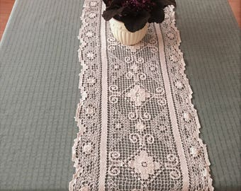 Vintage Lace Table Runner, Taupe Colored Net Filet Lace Long Table Runner, Vintage Dressers Scarf, Side Board Scarf, Taupe Filet Lace Runner