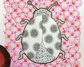 Zentangle Mandala Ladybird Art Print
