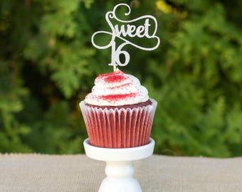 Sweet 16 cupcake topper, gold glitter topper, sweet 16 decorations, sweet 16 birthday party, happy 16th birthday, sweet sixteen party