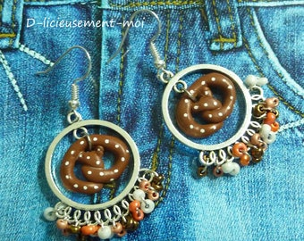 Materials sterling silver 925 earrings polymer clay pretzel cookie Christmas seed beads