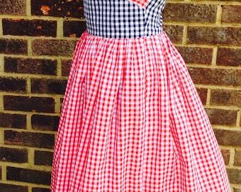 Vintage 1950's halter neck dress in gingham